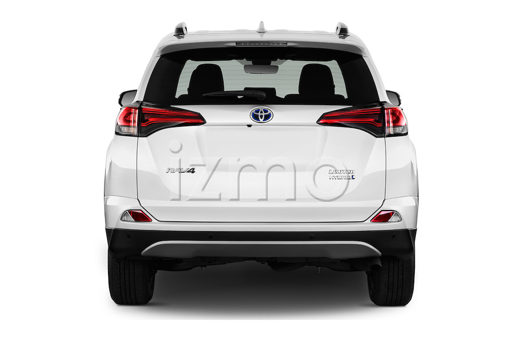 Straight rear view of 2016 Toyota RAV4 Hybrid-Limited-4x4 5 Door SUV Rear View  stock images
