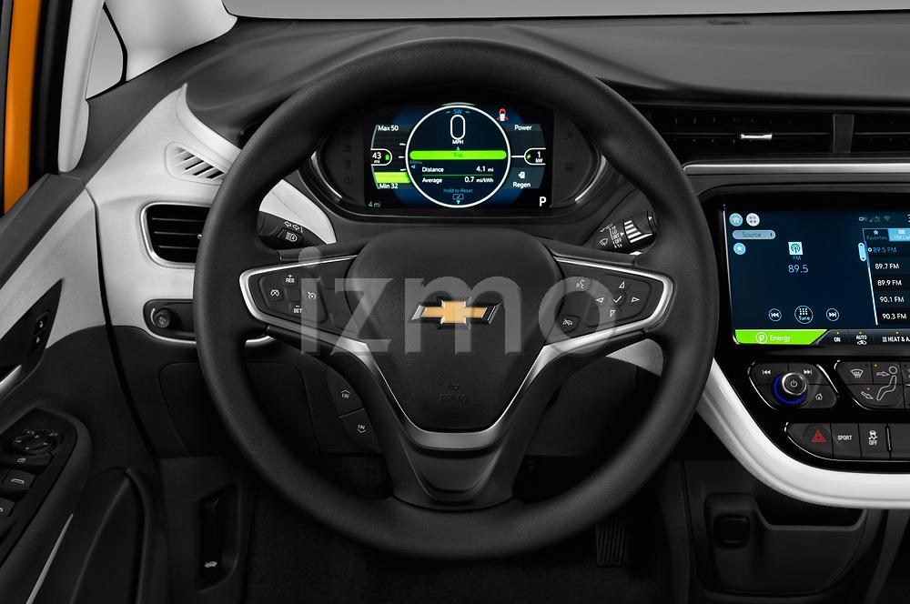 Car pictures of steering wheel view of a 2018 Chevrolet Bolt-EV LT 5 Door Hatchback Steering Wheel