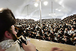 BROOKLYN - APRIL 29, 2006:  Members of Satmar community supporting Rabbi Aaron Teitelbaum gather in a makeshift synagogue in a park at Taylor Street and Lee Avenue on Williamsburg on April 29, 2006 in Brooklyn. (Photograph Michael Nagle)
