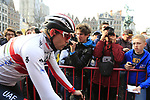 Alexander Kristoff (NOR) UAE Team Emirates at the team presentation in Antwerp before the start of the 2019 Ronde Van Vlaanderen 270km from Antwerp to Oudenaarde, Belgium. 7th April 2019.<br /> Picture: Eoin Clarke | Cyclefile<br /> <br /> All photos usage must carry mandatory copyright credit (&copy; Cyclefile | Eoin Clarke)