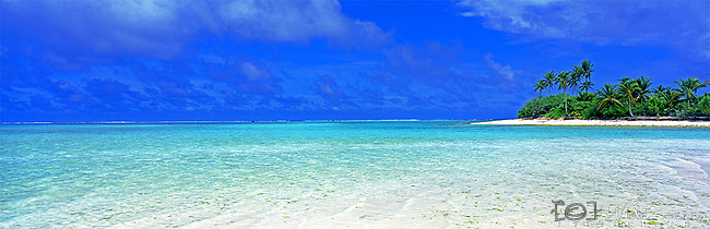 Cook Islands Panorama - Aitutaki in the Cook Islands.<br /> <br /> Image taken on large format panoramic 6cm x 17cm transparency. Available for licencing and printing. email us at contact@widescenes.com for pricing.