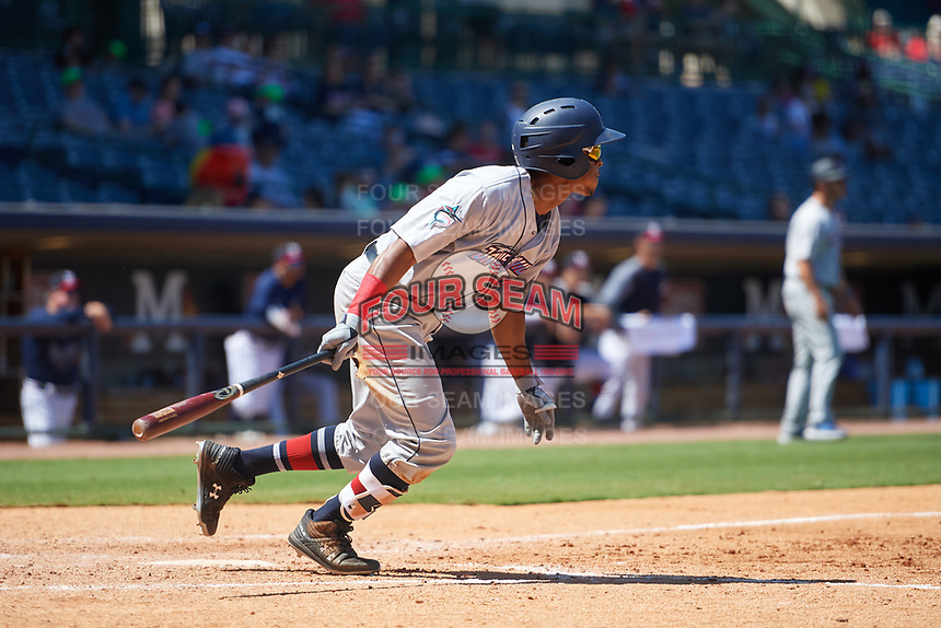 Jacksonville Jumbo Shrimp Magneuris Sierra (18) at bat during a Southern League game against the Mississippi Braves on May 5, 2019 at Trustmark Park in Pearl, Mississippi.  Mississippi defeated Jacksonville 1-0 in ten innings.  (Mike Janes/Four Seam Images)