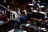 Roma, 31 Gennaio 2014<br /> Camera dei Deputati - Voto sulle pregiudiziali di costituzionalità della legge elettorale<br /> Nella foto: Fabrizio Cicchitto,e il ministro Angelino Alfano
