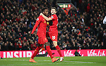 Divock Origi of Liverpool celebrates with Adam Lallana of Liverpool during the Premier League match at Anfield Stadium, Liverpool. Picture date: December 11th, 2016.Photo credit should read: Lynne Cameron/Sportimage