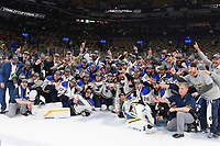 June 12, 2019: The Saint Louis Blues pose on the ice with the Stanley Cup at game 7 of the NHL Stanley Cup Finals between the St Louis Blues and the Boston Bruins held at TD Garden, in Boston, Mass. The Saint Louis Blues defeat the Boston Bruins 4-1 in game 7 to win the 2019 Stanley Cup Championship.  Eric Canha/CSM