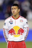 Connor Chinn (25) of the New York Red Bulls during pre-game introductions. The New York Red Bulls defeated the Philadelphia Union 2-1 during a US Open Cup qualifier at Red Bull Arena in Harrison, NJ, on April 27, 2010.