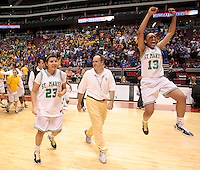 5a1girlsbkb0305  022411511tk  3/4/11-  St. Mary's Cortnee Walton leaps in the air in celebration while walking out to center court with teammate Lyndsay Leikem and coach Curtis Ekmark after beating Chandler High School in Friday's  5A-I girls basketball finals at Jobing.com Arena.  (Pat Shannahan/ The Arizona Republic)