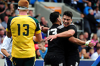 Patelesio Tomkinson of New Zealand U20 is congratulated on his try in the second half. World Rugby U20 Championship 5th Place Play-Off between Australia U20 and New Zealand U20 on June 25, 2016 at the AJ Bell Stadium in Manchester, England. Photo by: Patrick Khachfe / Onside Images