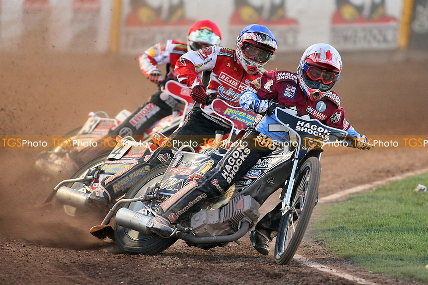 Heat 15: Richardson (white), Batchelor (blue) and Schlein - Lakeside Hammers vs Peterborough Panthers - Sky Sports Elite League Speedway at the East of England Showground - 03/06/10 - MANDATORY CREDIT: Gavin Ellis/TGSPHOTO - Self billing applies where appropriate - Tel: 0845 094 6026
