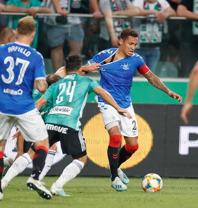 22.08.2019 Legia Warsaw v Rangers: James Tavernier held back