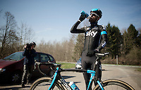 Sir Bradley Wiggins (GBR/Sky) waiting at the end of the Bois de Wallers-Arenberg sector<br /> <br /> 2015 Paris-Roubaix recon with Team SKY