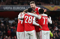 Arsenal players congratulate Pierre-Emerick Aubameyang after scoring their opening goal during Arsenal vs Eintracht Frankfurt, UEFA Europa League Football at the Emirates Stadium on 28th November 2019