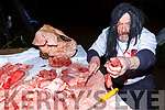 Chris Barrett Knocknagoshel chopping meat at the Knocknagoshel Ghost Trail on Sunday night
