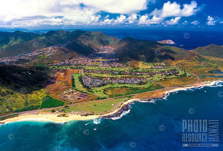 Aerial view of Sandy beach and the east Kaiwi coastline near Hawaii Kai