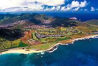 Aerial view of Sandy beach and the east Kaiwi coastline near Hawaii Kai