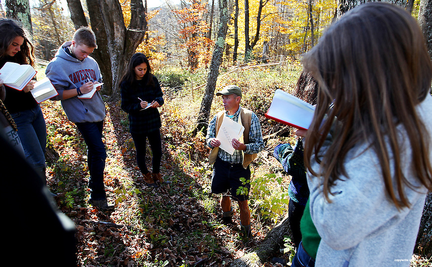 Teacher Pat Barnes, facing center, teaches an environmental science class in the woods at the Mountain School..