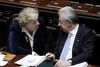 Il Ministro dell'Interno Anna Maria Cancellieri e il Presidente del Consiglio Mario Monti.Roma 25/01/2012 Voto alla Camera dei Deputati per la mozione unitaria sulla politica europea dell'Italia.Foto Insidefoto Serena Cremaschi