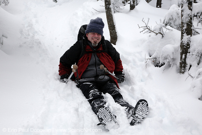 A hiker enjoys the Avalon Trail  in the White Mountains, New Hampshire USA during the winter months.