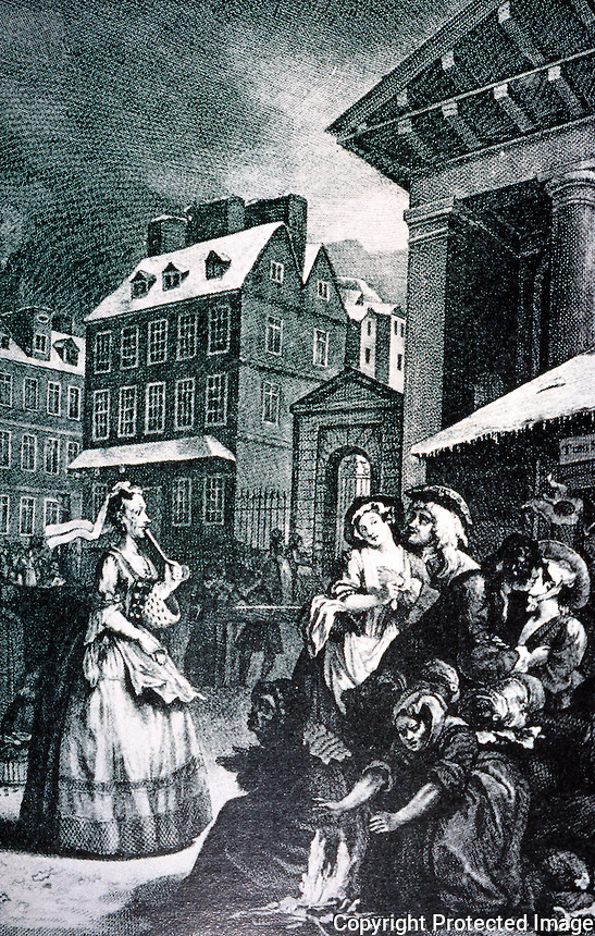 "London: Covent Garden--Hogarth. (Hogarth's engraving of Tom King's Coffee House early in the morning. It was ""little more than a brothel"". Moll, Tom's wife, a model for Moll Flanders.)"