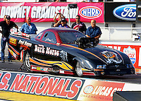 Sept. 1, 2013; Clermont, IN, USA: NHRA top alcohol funny car driver Fred Hagen during qualifying for the US Nationals at Lucas Oil Raceway. Mandatory Credit: Mark J. Rebilas-