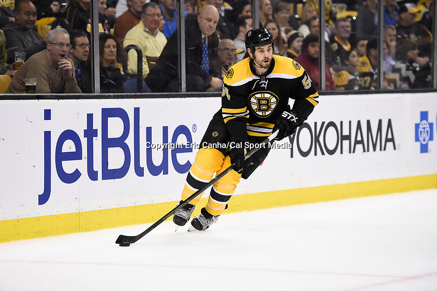 Tuesday, December 22, 2015: Boston Bruins defenseman Adam McQuaid (54) in game action during the National Hockey League game between the St. Louis Blues and the Boston Bruins held at TD Garden, in Boston, Massachusetts. The blues beat the Bruins 2-0 in regulation time. Eric Canha/CSM