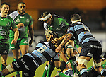 Connacht's George Naoupu is tackled by Cardiff Blues' Josh Turnbull<br /> Guiness Pro12<br /> Cardiff Blue v Connacht<br /> BT Sport Cardiff Arms Park<br /> 06.03.15<br /> &copy;Ian Cook -SPORTINGWALES