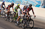 World Champion Peter Sagan (SVK) Tinkoff-Saxo chats with Manuel Quinziato (ITA) followed by Philippe Gilbert (BEL) BMC during Stage 2, The Capital Stage, of the 2015 Abu Dhabi Tour running 129 km from Yas Marina Circuit to Yas Mall, Abu Dhabi. 9th October 2015.<br /> Picture: ANSA/Claudio Peri | Newsfile