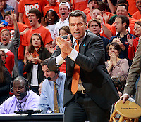 Virginia head coach Tony Bennett reacts to a call during the first half of an NCAA basketball game against Louisville Saturday Feb. 7, 2015, in Charlottesville, Va. (Photo/Andrew Shurtleff)