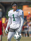 New York Jets wide receiver Terrelle Pryor (1) looks on as his team participates in a joint training camp practice with the Washington Redskins at the Washington Redskins Bon Secours Training Facility in Richmond, Virginia on Tuesday, August 14, 2018.<br /> Credit: Ron Sachs / CNP<br /> (RESTRICTION: NO New York or New Jersey Newspapers or newspapers within a 75 mile radius of New York City)