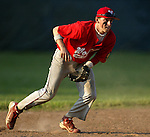 WOLCOTT, CT, 06 JULY 2011-070611JS03---Wolcott's Ryan Pelletier scoops up a ground ball during their American Legion game against Torrington Wednesday at Wolcott High School.<br /> Jim Shannon/Republican-American
