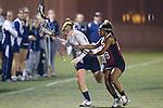 Santa Barbara, CA 02/18/12 -Christa  Lautsen (Pittsburg #3) and Monica Wells (Santa Clara #18) in action during the Pittsburg vs Santa Clara matchup at the 2012 Santa Barbara Shootout.  Santa Clara defeated Pittsburg 12-9.