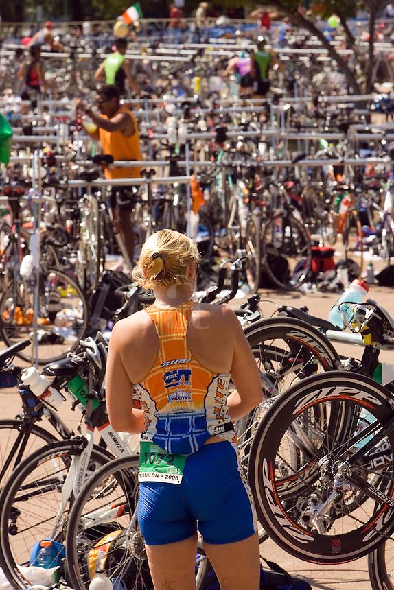 Triathlon bike transition area