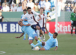 7 June 2007: The United States Clint Dempsey (8) is fouled by Guatemala's Leonel Noriega (2) and Claudio Albizuris (7). The United States Men's National Team defeated the National Team of Guatemala 1-0 at the Home Depot Center in Carson, California in a first round game in the CONCACAF Gold Cup.