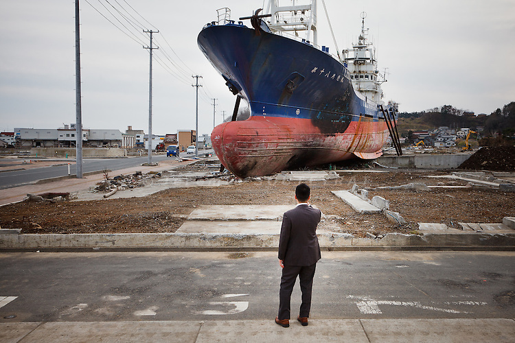 Kesennuma, December 6 2011 - A ship stands 1.5km from the see, 9 months after the tsunami hit Japan on March 11.