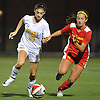 Gianna Russo #10 of St. Anthony's, left, and Claire Carney #12 of Sacred Heart Academy battle for possession during the Nassau-Suffolk CHSAA varsity girls soccer final at Adelphi University on Wednesday, Nov. 1, 2017. St. Anthony's won by a score of 2-0.