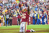 Landover, MD - September 23, 2018: Washington Redskins running back Adrian Peterson (26) celebrates a touchdown during game between the Green Bay Packers and the Washington Redskins at FedEx Field in Landover, MD. The Redskins get the win 31-17 over the visiting Packers. (Photo by Phillip Peters/Media Images International)