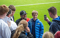 Liverpool Manager Jurgen Klopp mingles with supporters during the 2016/17 Pre Season Friendly match between Tranmere Rovers and Liverpool at Prenton Park, Birkenhead, England on 8 July 2016. Photo by PRiME Media Images.