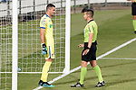 Getafe CF's David Soria have words with Spanish referee Carlos Del Cerro Grande during friendly match. August 10,2019. (ALTERPHOTOS/Acero)