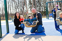 HORSHAM, PA. - APRIL 7:  The Marvill family is photographed at Everybody's Playground, April 7, 2013 in Horsham, Pennsylvania..(Photo by William Thomas Cain/Cain Images).