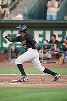 Franklin Reyes (13) of the Great Falls Voyagers bats against the Ogden Raptors at Lindquist Field on August 16, 2017 in Ogden, Utah. The Voyagers defeated the Raptors 11-6. (Stephen Smith/Four Seam Images)