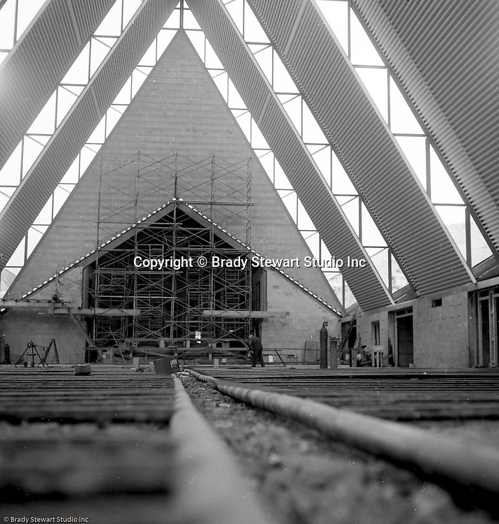Pittsburgh PA:  View of the construction of the St Sebastian Catholic Church on Siebert Road in the North Hills.  The parish was founded in 1952 and this permanent church was built in 1960.  You can view the church from McKnight road.