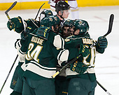 Liam Coughlin (UVM - 13), Jake Massie (UVM - 34), Brendan Bradley (UVM - 20), Anthony Petruzzelli (UVM - 28) - The Boston College Eagles defeated the University of Vermont Catamounts 7-4 on Saturday, March 11, 2017, at Kelley Rink to sweep their Hockey East quarterfinal series.The Boston College Eagles defeated the University of Vermont Catamounts 7-4 on Saturday, March 11, 2017, at Kelley Rink to sweep their Hockey East quarterfinal series.