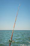 Fishing pole on boat.