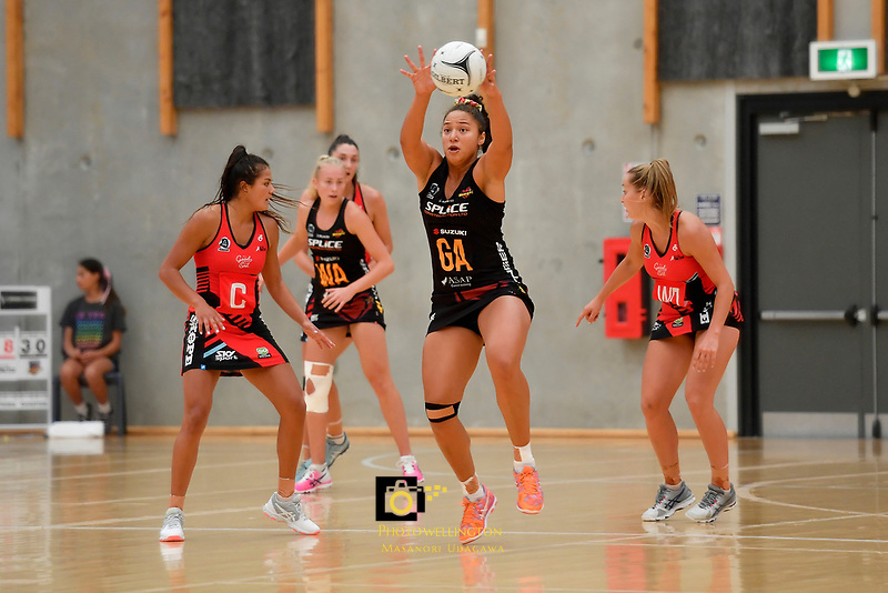 Magic's Abigail Latu-Meafou in action during the Preseason Tournament - Tactix v Magic at Ngā  Purapura, Otaki, New Zealand on Saturday 9 February  2019. <br /> Photo by Masanori Udagawa. <br /> www.photowellington.photoshelter.com