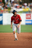Dustin Garneau (4) runs to third base against the Salt Lake Bees in Pacific Coast League action at Smith's Ballpark on June 10, 2017 in Salt Lake City, Utah. The Isotopes defeated the Bees 4-2. (Stephen Smith/Four Seam Images)