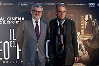 Jeremy Irons with the director of Prado Museum Miguel Falomir Faus<br /> Rome April 9th 2019. Actor Jeremy Irons poses for photographers during the presentation of the film documentary Bicentennial of the The Museum of Prado in Madrid.<br /> photo di Samantha Zucchi/Insidefoto