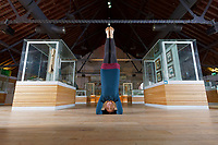 Yoga instructor Menna Buss at the National Waterfront Museum in Swansea, Wales, UK. Wednesday 16 January 2018