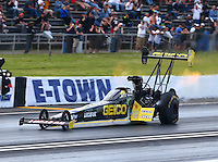 May 31, 2014; Englishtown, NJ, USA; NHRA top fuel driver Richie Crampton during qualifying for the Summernationals at Raceway Park. Mandatory Credit: Mark J. Rebilas-