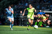 Seattle, WA - Sunday, April 17, 2016: Seattle Reign FC defender Carson Pickett (16) drives down the left flank at Memorial Stadium. Sky Blue FC defeated the Seattle Reign FC 2-1during a National Women's Soccer League (NWSL) match at Memorial Stadium.