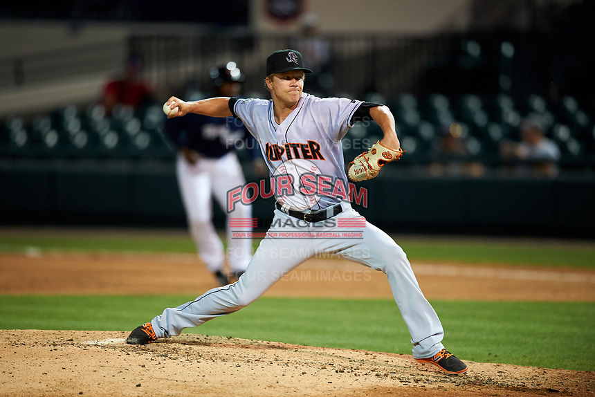 Jupiter Hammerheads relief pitcher Steven Farnworth (23) delivers a pitch during a game against the Lakeland Flying Tigers on April 17, 2017 at Joker Marchant Stadium in Lakeland, Florida.  Lakeland defeated Jupiter 5-1.  (Mike Janes/Four Seam Images)